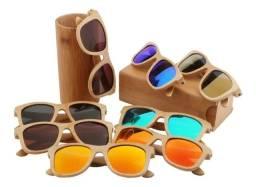Título do anúncio: Óculos Sol Bambu Madeira Uv400 Polarizado Sem Caixa