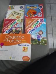 Livros Marcha criança, Caderno do futuro, Eu gosto mais e Oficina de escritores 3° Serie