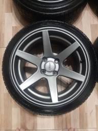 Jogo de rodas 15x8 ZEUS ZW309 com pneus 195/45/15
