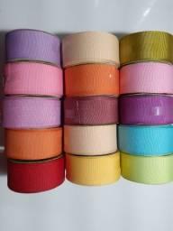 Kit 10 rolos de fita gorgurao lisa n9 lindas cores!