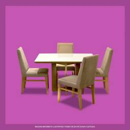 Conjunto Mesa de Jantar + 4 Cadeiras Jacauna (NOVO)
