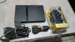 Playstation 2 slim leitor 100% acompanha manete nova sem fio 2.4 GHz