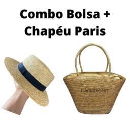 Combo Bolsa De Praia Mais Chapéu De Praia Paris Premium