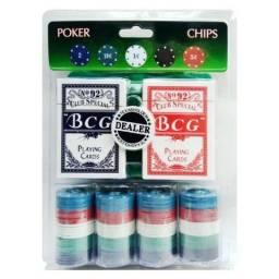Kit Poker 100 fichas, 2 baralhos e 1 Feltro