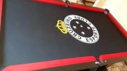 Mesa de Bilhar Cor Preta Tecido Preto Logo Cruzeiro Mod. ESYF6965