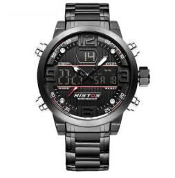 601715ac9ca Relógio Pesado Luxuoso Ristos Preto Digital e Analógico à Prova D água 100%  Novo