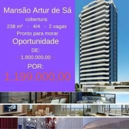Pituba Sensacional Cobertura Artur de Sá, 3 suítes, 262 m²