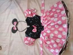 Vendo vestido infantil da minie rosa com arco