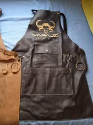 Avental para churrasqueiro em couro legítimo marca marajó bull