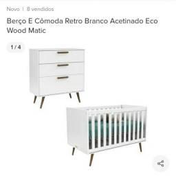 Berço e cômoda branco acetinado retrô Eco Wood Matic