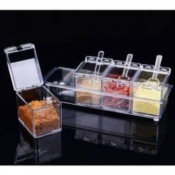 Porta Condimentos E Temperos Acrílico Lindo Crystal 4 Potes
