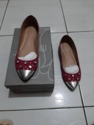 Sapatilha my shoes, tam 38, cor rosa, em couro