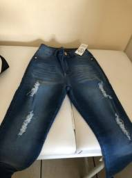 Calça jeans cintura alta nova
