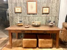 Mesa de madeira maciça de demolição Antiquário 2 x 1m
