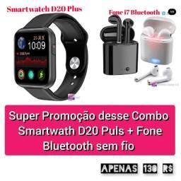 Smartwatch D20 Plus mais Fone sem fio via Bluetooth