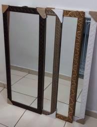 Espelhos: 38x98 cm.  Moldura madeira!