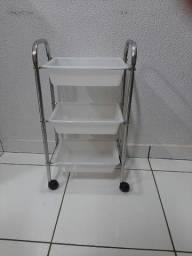 Porta esmalte+mesa de manicure+carrinho auxiiliar