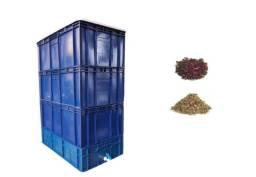 Kit Composteira / Minhocário Grande 136 Litros + Minhocas