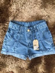 Short jeans 100% sem lycra