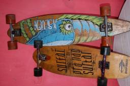 Long board com capacetes