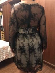 Vestido manga comprida renda