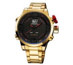 63d8ae70bbc Relógio Luxuoso Dourado ASJ Digital e Analógico à Prova D água 100% Novo e