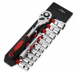 Jogo de ferramenta chaves soquetes catraca reversível 12 peças profissional aço