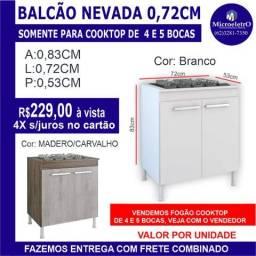 Balcão Nevada para fogão cooktop 5 Bocas Madeira