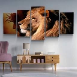 Quadro Decorativo Mosaico 5 Peças Leão de Judá