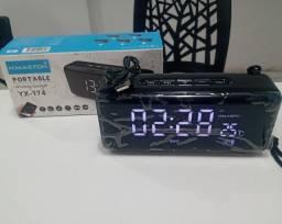Caixinha de som, Bluetooth e relógio