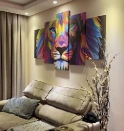 Quadro Leão colorido moderno para Sala