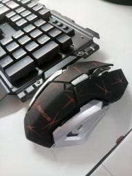 Kit Teclado e mouse Gamer sem fio