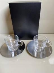 Xícaras para Café View Collection Espresso - Nespresso - Taças vidro e pratos em aço inox