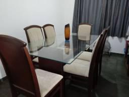 Mesa de vidro /c 6 cadeiras