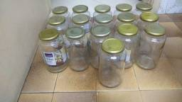 Potes de vidros vazios com tampa( 18 vidros)