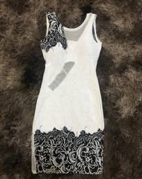 Vestido branco e preto, justinho - tamanho P