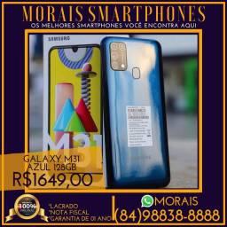 (PREÇO PROMOCIONAL) Samsung M31 Azul 128Gb (NOTA FISCAL E GARANTIA DE 01 ANO)
