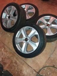 Rodas 17 x6 com pneus semi novos