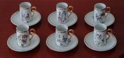 6 xícaras/pires porcelana.