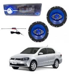 Kit Radio Mk2 Bluetooth + Alto Falante 6 pol Quadriaxial+ Antena Para Voyage / Consulte