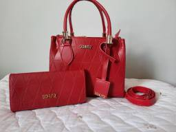 Kit bolsa e carteira feminina lorena vermelho