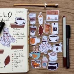 Adesivos coffee and tea vintage stickers/bujo de papelaria