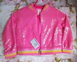 Jaqueta bomber paête infantil, casaco em paête cor de rosa.