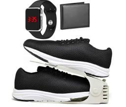 Acabando: Kit Tênis Esportivo Caminhada Com Organizador com Carteira e Relógio LED