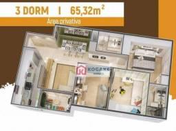 Apartamento com 3 dormitórios à venda, 65 m² por R$ 279.900,00 - Parque Residencial Flambo