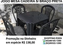 Jogo completo de mesa e cadeira plástica cor preta nova