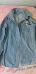 Camisa jeans manga longa conservada, tamanho P