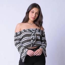 Cropped tricot Listrado decote nó