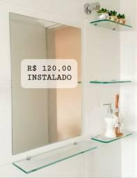 Kit Banheiro  espelho + prateleiras