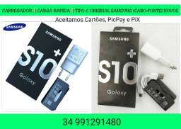 Carregador Carga Rápida Samsung Modelo S10 Type-C(Cabo USB+Fonte) Últimos